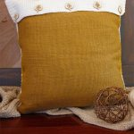 C2C Fall Crochet Pumpkin Pillow. Back side of pillow. Burlap material, plain with fold over and 5 buttons || thecrochetspace.com