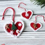 Festive Crochet Holiday Hearts. Three different hearts, but all crafted in red with white accents || thecrochetspace.com