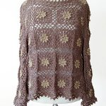 Flower Square Crochet Tunic. Long sleeved brown and beige colored tunic    thecrochetspace.com