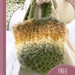 Fluffy Crystal Crochet Bag. Crafted in a variegated yarn in green, rust and yellow || thecrochetspace.com