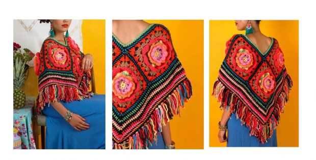 Frida Flowers Crocheted Poncho | thecrochetspace.com