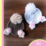 Fun Crochet Bunny Coasters. Two bunny coasters with feet and bob tail    thecrochetspace.com