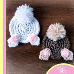 Fun Crochet Bunny Coasters. Easter bunny coasters with feet and bob tails in different colors    thecrochetspace.com