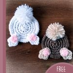 Fun Crochet Bunny Coasters. Butt coaster with tail and feet. 2x coaster. 1x brown. 1x white    thecrochetspace.com