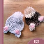Fun Crochet Bunny Coasters. 1x brown with beige accent. 1 x white with pink accent    thecrochetspace.com