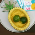 Fun Crochet Pineapple Basket . Basket crafted in the shape and color of the inside of a pineapple || thecrochetspace.com