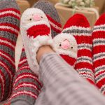 Fun Santa Crocheted Slippers. Slippers crafted in red and white || thecrochetspace.com