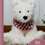 Furry Amigurumi Polar Bear. White fluffy bear with red and white scarf || thecrochetspace.com