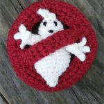 Ghost Busters Crochet Applique. White ghost inside red circle with red line at an angle || thecrochetspace.com