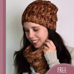 Gilded Lily Crochet Beanie. Young irl wearing beanie and matching cowl || thecrochetspace.com