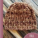 Gilded Lily Crochet Beanie. Crafted in variegated browns || thecrochetspace.com