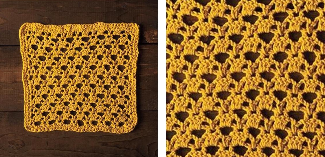 Golden Lattice Crochet Dishcloth | thecrochetspace.com