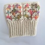 Granny Boot Crochet Cuffs. One cuff front image. Pastal granny squares. Very Pretty || thecrochetspace.com