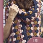 Granny Cluster Crochet Super Scarf. Close up of scarf wrapped around neck || thecrochetspace.com