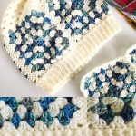 Granny Square Crochet Beanie. White & Blue colors Granny Squares. Hat at an angle || thecrochetspace.com