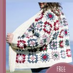 Granny Square Crochet Cardigan. Cream cardigan with colored granny squares side view || thecrochetspace.com