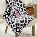 Graphic Granny Crochet Throw. Crafted in black, white, grey and burgandy || thecrochetspace.com