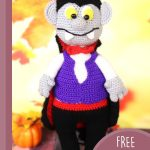 Halloween Amigurumi Vampire Doll. Single doll dressed in violet colored waistcoat and black cape || thecrochetspace.com