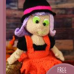Halloween Amigurumi Witch Doll. Image of doll with purple hair and wearing a black witches hat with a bright pink band around it || thecrcohetspace.com