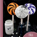 Crochet Spider Web Lolly. Three jars with different colored Halloween lollipops in them || thecrochcetspace.com