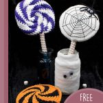 Crochet Spider Web Lolly. Two jars with different colored lollipos in them || thecrochetspace.com