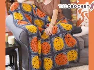 Halloween Pumpkin Crochet Throw || thecrochetspace.com