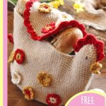 Henny Penny Crochet Bread Basket. Natural basket color with red and yellow accents, ready for Easter || thecrochetspace.com