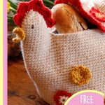 Henny Penny Crochet Bread Basket . Shaped like a chicken, with baguettes inside. For Easter || thecrochetspace.com