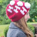 Holiday Ho Crochet Beanie. Lady wearing beanie, crafted in red and white || thecrochetspace.com