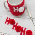Holiday Ho Crochet Cozy. Crafted in red and white with accent pom poms creating HO HO HO || thecrochetspace.com