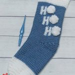 Holiday Ho Crochet Stocking. Image of entire stocking crafted in and white    thecrochetspace.com