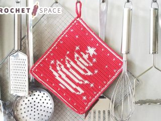 Holiday Tree Crochet Potholder || thecrochetspace.com