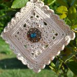 Inside Flower Crochet Square. Crafted in Cream and turned into a hanging lavender sachet || thecrochetspace.com