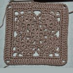 Inside Flower Crochet Square. Crafted in Light brown || thecrochetspace.com