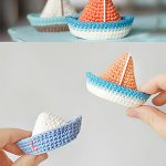 Jolly Roger Crochet Boats. Split Image But Both Top And Bottom Images Are Similar And There Are Two Boats In Each || thecrochetspace.com
