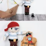 Split Pin. Upper Image Is An Amigurumi Pirate Standing Next To His Cardboard Sailing Ship. Lower Image is The Pirate With An Outstretched arm on 2x Side By Side Kiddie's Wooden Building Blocks || thecrochetspace.com