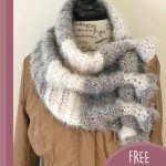 Keyhole Waterfall Crochet Scarf. crafted in grey and cream || thecrochetspace.com