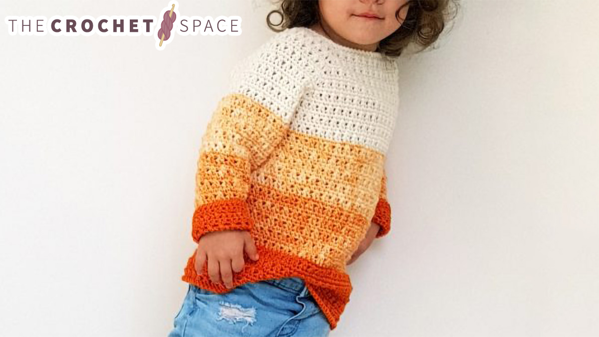 Kiddies Pumpkin Crochet Sweater | thecrochetspace.com