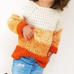 Kiddies Pumpkin Crochet Sweater. Orange ombre sweater in stripes || thecrochetspace.com