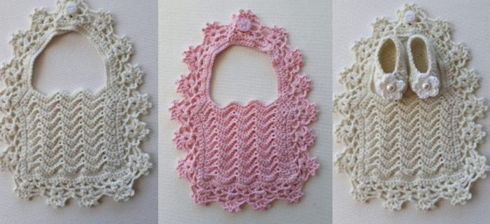 Lacy Crochet Baby Bib in pink or cream. 3 images. One pair of baby shoes in cream || thecrochetspace.com