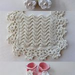 Lacy Crochet Baby Bib In Cream With An Enormous Lace Border Together With Cream Booties And Pink Sandals || thecrochetspace.com