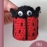 Ladybird Crochet Chair Socks. Chair sock crafted in shape of ladybug. In black/red and with eyes || thecrochetspace.com