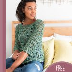 Lightweight Lace Crochet Sweater. Image of woman sitting and wearing sweater in green color || thecrochetspace.com