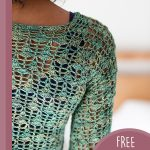 Lightweight Lace Crochet Sweater. Close up of sweater shoulder in green || thecrochetspace.com