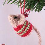 Little Crochet Christmas Mouse. Crafted in a red and green stripey sweater || thecrochetspace.com