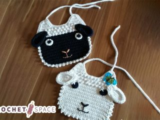 Little Lamb Crocheted Baby Bib. baby bib with lamb face and ears || thecrochetspace.com