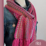 Lizzy's Lovely Crochet Scarf. Crafted in pinks and worn over a denim jacket || thecrochetspace.com