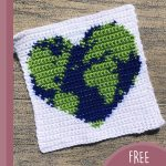 Loving Earth Crochet Square. Green earth and blue sea in heasrt shape on white background || thecrochetspace.com