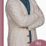 Mens Aran Crochet Cardigan. crafted in tradional off white with wooden buttons || thecrochetspace.com