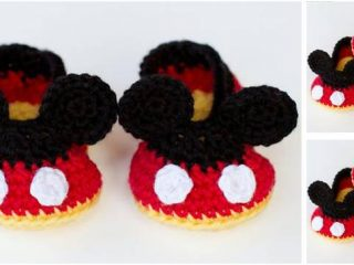 Mickey Mouse crocheted baby booties   the crochet space